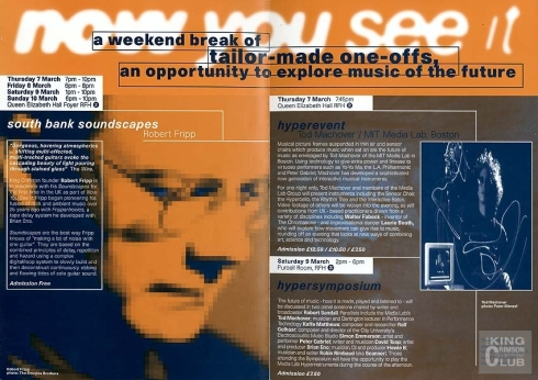 'Now You See It...':  Robert Fripp Soundscapes, 10th March 1996