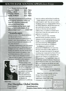 'Now You See It...':  Robert Fripp Soundscapes, 10th March 1996 (programme)