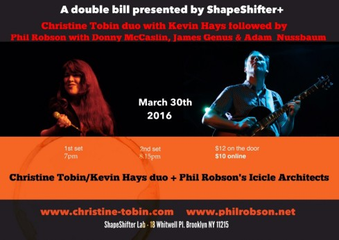 Phil Robson's Icicle Architects + Christine Tobin Duo, 30th March 2016