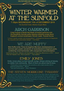 Winter Warmer @ The Sunfold (featuring Arch Garrison + We Are Muffy + Emily Jones + The Steven Morricone Tyranny), 11th December 2019